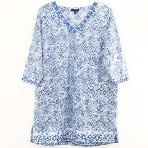 Lands End Boho Blue White Floral Tunic Dress